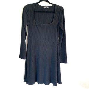 Nasty Gal black ribbed long sleeve mini dress 10